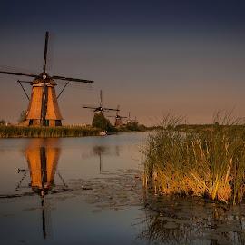 Windmills at dusk by David Kooijman - Landscapes Travel ( water, reflection, kinderdijk, holland, windmills, dusk,  )