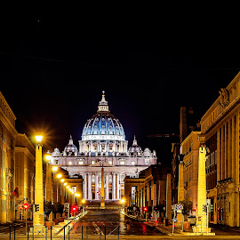 St. Peter's by Ivano Mancino - City,  Street & Park  Historic Districts ( via della conciliazione, rome, night, vatican, st. peter's,  )