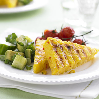 Griddled Polenta With Corn & Green Salsa