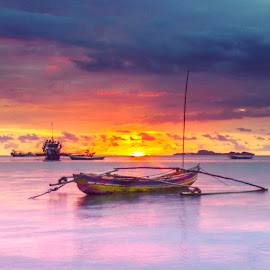 Boats On Sunset by Vicky Mahendra - Transportation Boats ( sunset, boats, photographer, landscape, photography )