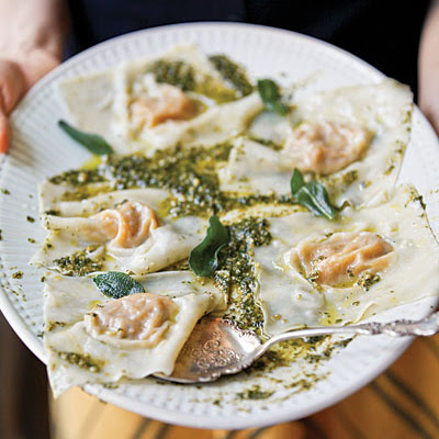Butternut Squash Ravioli with Oregano-Hazelnut Pesto
