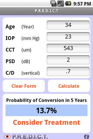 Glaucoma Calculator PREDICT