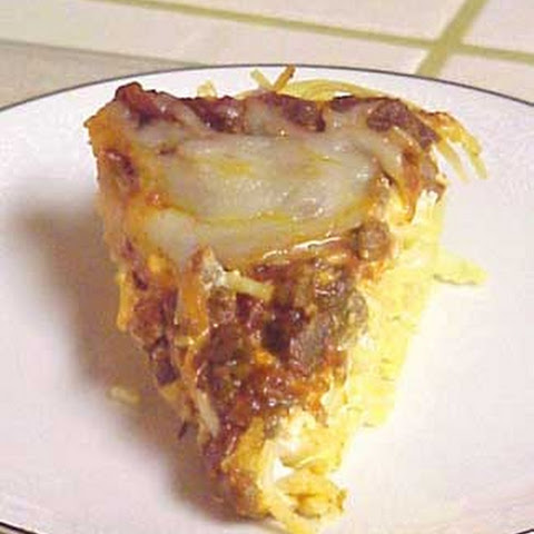 Ground Beef And Cheese Pie with Spaghetti Crust
