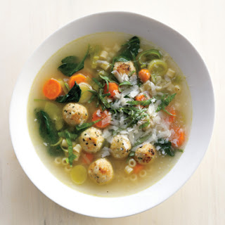 Spring Minestrone with Chicken Meatballs