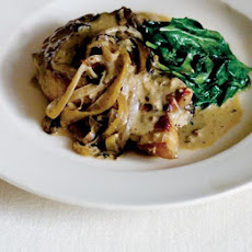 Pork Chops With Cider, Cream & Spinach