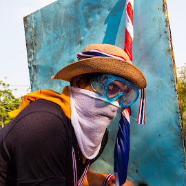 Thailand Protester  by Ty Oneil - News & Events Politics ( bangkok, flag, protest, thailand, riot, shield )