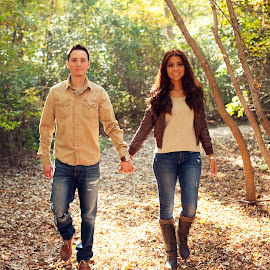 walk in the woods by Heather Grossnickle Nyren - People Couples ( wedding, fall, trees, couple, engagement )