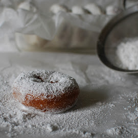 Fresh Powder 4 by David Kreutzer - Food & Drink Cooking & Baking ( powder sugar, doughnut, white, white background, baking )