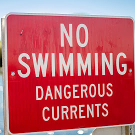 Please Swim here. by Angelo Perrino - Artistic Objects Signs