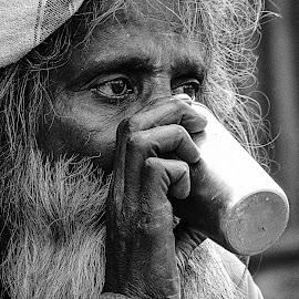 Thirsty Old Monk... by Suvenjit Deb - Novices Only Portraits & People