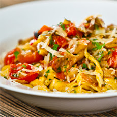 Fresh Fettuccine With Crispy Pancetta, Sauteed Mushrooms And Cherry Tomatoes