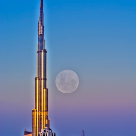The Burj and The Moon by Andy Arciga - Buildings & Architecture Other Exteriors ( landmark, dubai, burj khalifa )