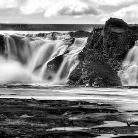 Below the Falls by Luc Belisle - Black & White Landscapes ( water, beauce, quebec, canada, majestic, falls )