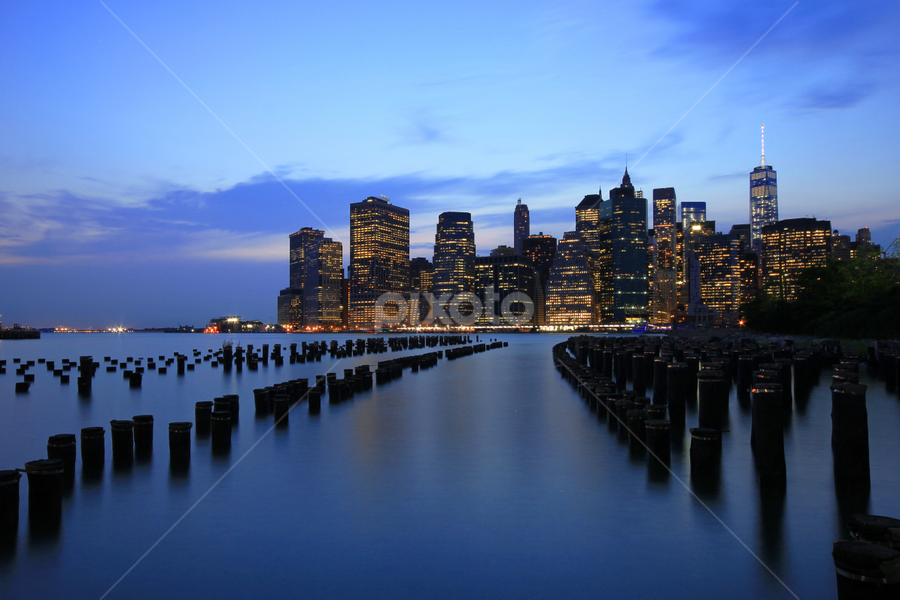 NYC Downtown by Zack G - City,  Street & Park  Night ( manhattan skyline, world trade center, pier, manhattan, night, new york, light, downtown, brooklyn )