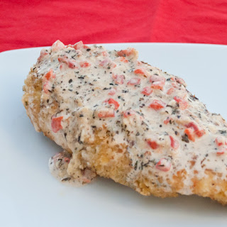 Breaded Chicken with Basil Cream Sauce