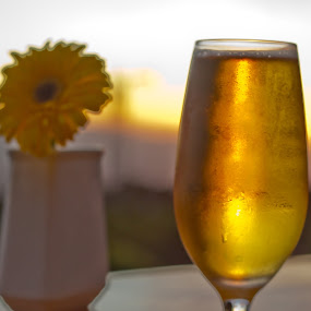 Dusk beer by Andro Zeledón - Food & Drink Alcohol & Drinks ( beer, sunset, view, landscape, flower )