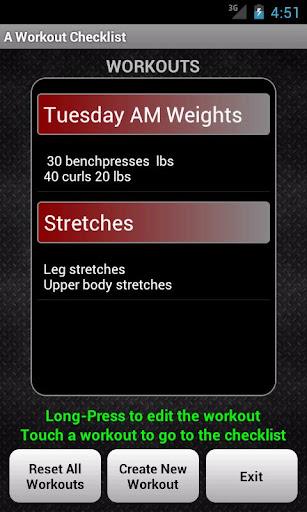 A workout Checklist Unlock