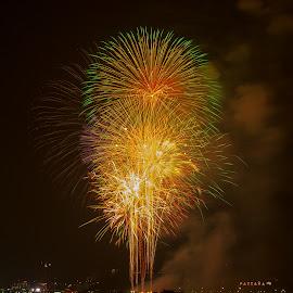 fireworks by Ariya Namwong - News & Events World Events ( ariya, beautiful, thailand, fireworks, beach, penny., pattaya )