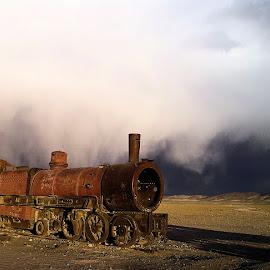 Train Cemetery, Uyuni, Bolivia by Gyan Fernando - Transportation Trains ( train cemetery, railroads, railways, gyan fernando, steam locomotives, travel, altiplano, bolivia, abandoned locomotives, trains )