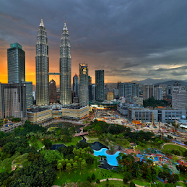 Sunset at KLCC Precinct by Nur Ismail Mohammed - City,  Street & Park  Skylines ( klcc, park, sunset, klcc park, petronas, suria klcc, twin towers, cloudy, city park )