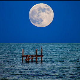 Moon over Miami by Manuel Castro - Landscapes Starscapes