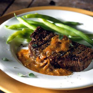 Grilled Filet Mignon with Blackened Tomato and Oregano Sauce