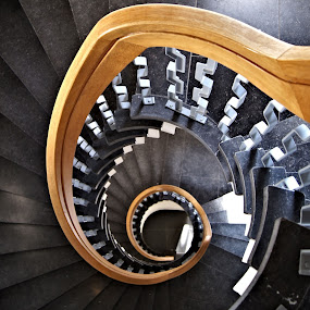 Winding staircase by Anita Berghoef - Buildings & Architecture Other Interior ( stairs, winding, looking down, staircase, architecture, black,  )