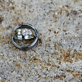 Wedding Rings on Rock by Kristin Cheatwood - Wedding Details ( wedding, rings, wedding rings, object, artistic, jewelry )