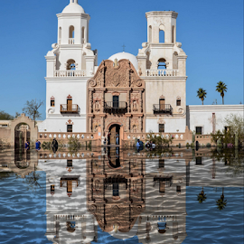 San Xavier Mission by Michael Moriarty - Digital Art Places ( religion, church, mission, arizona, digital art, places, travel, architecture, sanxavier, digital photography, destination )