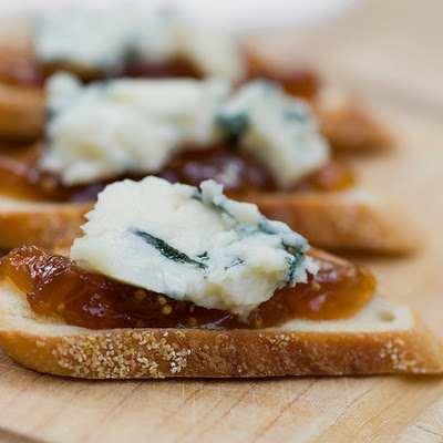 Blue Cheese and Fig Jam Crostini