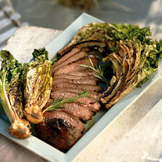 Grilled Leg of Lamb with Curly Endive and Romaine