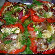 French Stuffed Red Bell Peppers With Fennel and Goat's Cheese