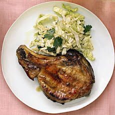 Grilled Pork Chops with Cabbage and Sesame Slaw