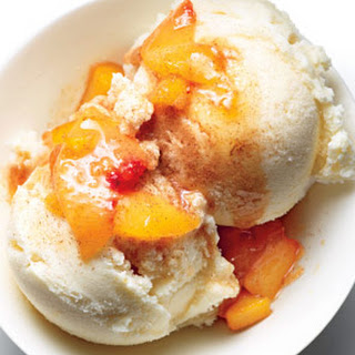 Ginger-Vanilla Fro Yo With Peach Compote