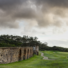 18th Century on the 7th Hole by CA Eccles - Sports & Fitness Golf ( well, heritage, commerical preservation, irrigation, noria, reservoir, assamassa aqueduct, conservation, trail, golf, resort, hydrology, hydraulic, water, archaeology, restoration, quinta da penha longa, green, hieronymite, farming, monks, king manuel, monastery, fairaway, sintra, 18th century, preservation,  )