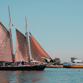 Old meets New by Lisa Moore - Transportation Boats ( maine, ferry, ocean, schooner, island )