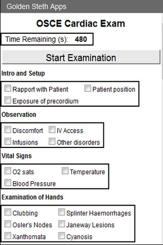 OSCE Cardiac Exam Checklist