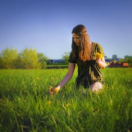 dandelion by Iva Petrović - People Portraits of Women ( dandelion girl strip green blue field meadow flowers woman )