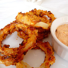 Oven-Fried Onion Rings with Dipping Sauce