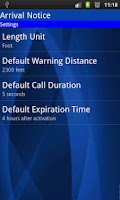 Screenshot of Arrival Notice (missed call)