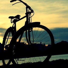 Ride To home by Abhisek Joardar - Transportation Bicycles ( bicycles, old, backlit, bike, riverside, transport, sunsets, silhouette, sunset, indian, rural, bicycle,  )