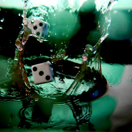 3 and 5 dice splash by Anthony Doyle - Artistic Objects Other Objects