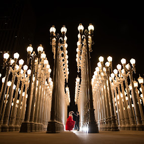 Dance With The Lights by Yansen Setiawan - Wedding Bride & Groom ( dancing, creative, art, losangeles, urban light, illusion, love, fineart, yansensetiawanphotography, prewedding, d800, wedding, lifestyle, photographer, la, yansensetiawan, lacma, nikon, yansen, engagement )