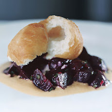 Beet Salad with Almond Butter and Gorgonzola Bomboloni
