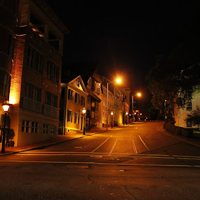 Providence by Night by Frank Gualtieri - City,  Street & Park  Street Scenes ( providence gold street night,  )