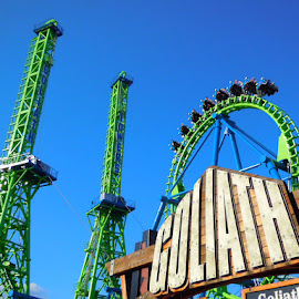 Goliath towers. by Bob Cornellier - City,  Street & Park  Amusement Parks ( six flags new england, goliath, train, vekoma, roller coaster, steel, inverted, fast, inverted roller coaster, six flags )