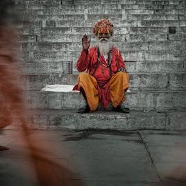 guru by Dimitris Manioros - City,  Street & Park  Street Scenes ( ganga, guru, varanasi, india, hindouism )