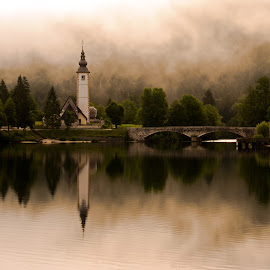Church at the lake Bohinj by Gregor Skoberne - Landscapes Travel ( nature, travel, landscape,  )