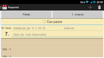 Screenshot of Raspored časova