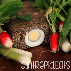 Romanian Easter recipe. Traditional lamb offal meatloaf.